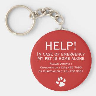 Porte-clés Contact de secours de maison d'animal familier