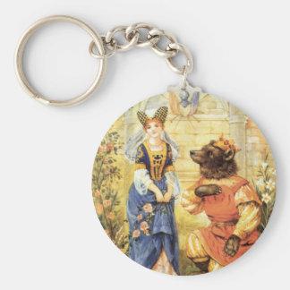 Porte-clés Conte de fées vintage, beauté et la bête