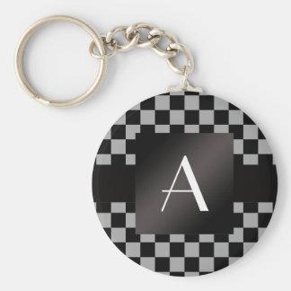 Porte-clés Contrôleurs gris et noirs de monogramme