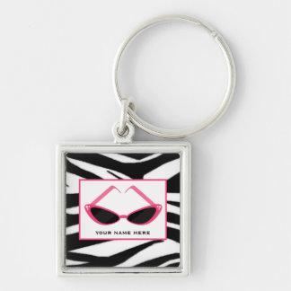 Porte-clés Copie de zèbre et rétros lunettes de soleil roses