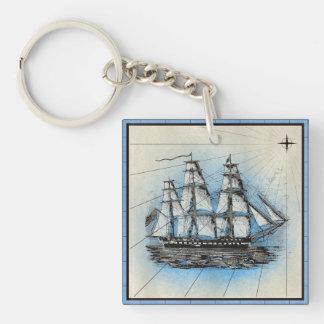 Porte-clés Copie marine de bateau noir avec le cadre bleu
