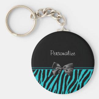 Porte-clés Copie noire et turquoise à la mode de zèbre avec