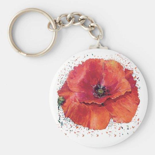 Porte-clés coquelicot rouge