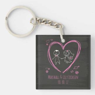 Porte-clés Couples mignons personnalisés épousant le porte -