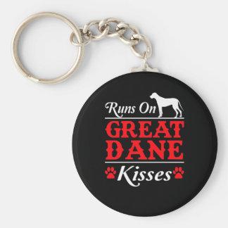 Porte-clés Courses sur le chien de great dane de baisers de