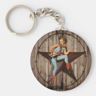 Porte-clés Cow-girl en bois de pays occidental d'étoile de