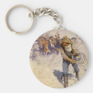 Porte-clés Cowboys occidentaux vintages, dans le corral par