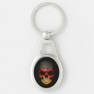 Porte-clés Crâne allemand de drapeau sur le noir