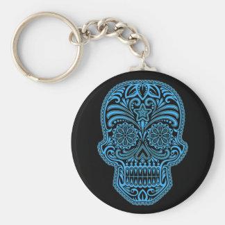 Porte-clés Crâne bleu et noir décoratif de sucre