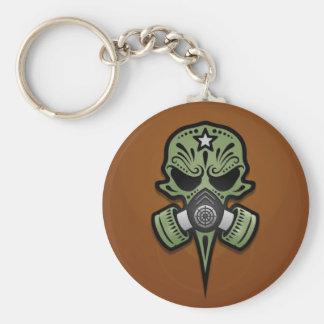 Porte-clés Crâne de sucre de masque de gaz, vert