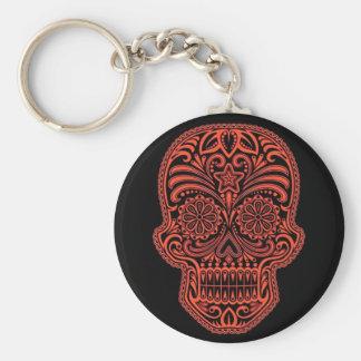 Porte-clés Crâne rouge et noir décoratif de sucre