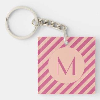 Porte-clés Crépuscule rose de monogramme et rayures fuchsia