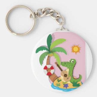 Porte-clés Crocodile jouant la guitare sur l'île