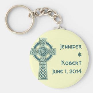 Porte-clés Croix celtique en ivoire turquoise et mythique