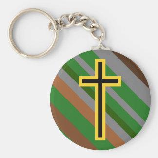 Porte-clés Croix chrétienne jaune et noire sur les rayures