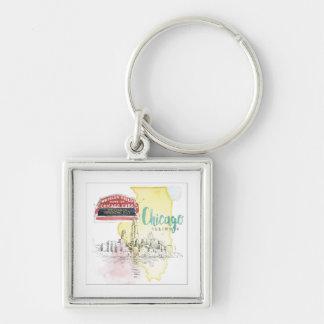 Porte-clés Croquis d'aquarelle de Chicago, l'Illinois |