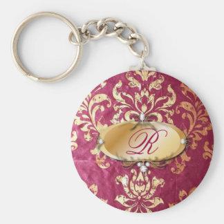 Porte-clés damassé victorienne florale grunge de Bourgogne