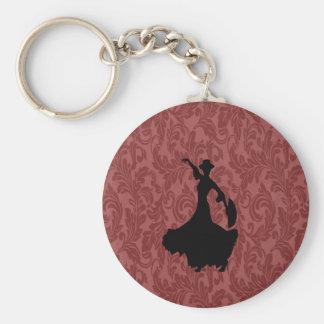 Porte-clés Danseur gai adorable de flamenco de damassé