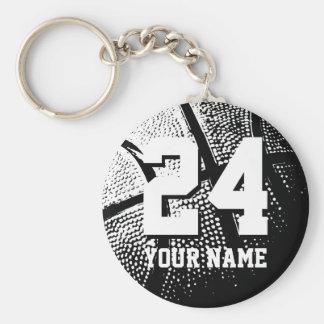 Porte - clés de basket-ball du numéro 24 | porte-clé rond