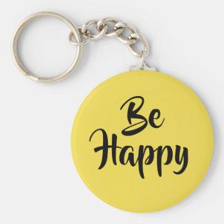 Porte-clés De motivation soyez porte - clé noir jaune heureux