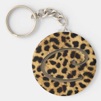 Porte-clés de peau de léopard avec la lettre C
