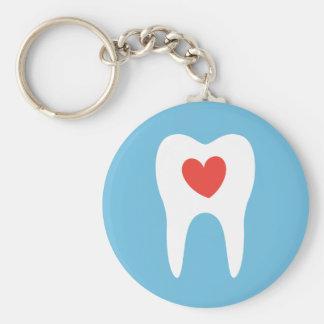 Porte-clés Dentiste de coeur d'amour de silhouette de dent