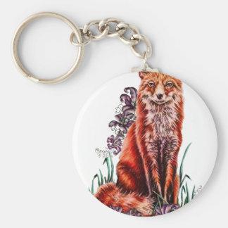 Porte-clés Dessin d'art animal rouge et de lis de Fox
