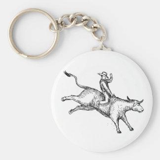 Porte-clés Dessin de cowboy de rodéo d'équitation de Taureau
