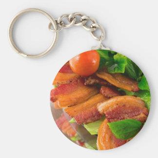 Porte-clés Détail d'un plat de lard et de tomate-cerise frits