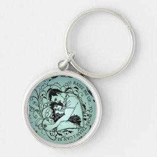 Porte - clés d'étreintes de père et de fille pour porte-clé rond argenté