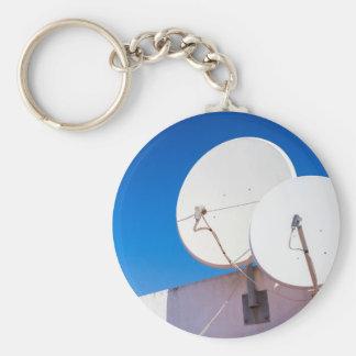 Porte-clés Deux antennes paraboliques blanches sur le mur de