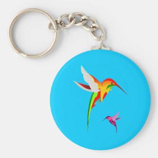 Porte-clés Deux colibris colorés de vol
