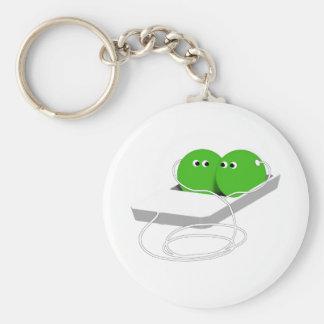 Porte-clés Deux pois dans une cosse (ajoutez votre texte)