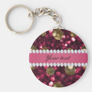 Porte-clés Diamants de Faux de Bokeh d'or de roses indien