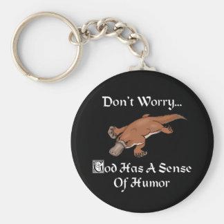 Porte-clés Dieu a un sens de l'humour - ornithorynque drôle