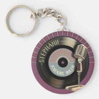Porte-clés Disque drôle de la Reine de karaoke rétro