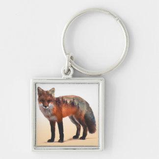 Porte-clés Double exposition de Fox - art de renard - renard