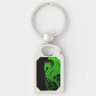 Porte-clés Dragon tribal de vol - vert sur le noir