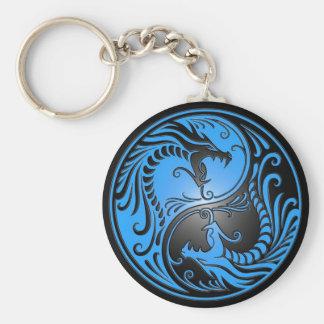 Porte-clés Dragons, bleu et noir de Yin Yang