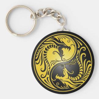 Porte-clés Dragons, jaune et noir de Yin Yang