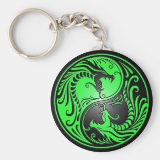 Porte-clés Dragons, vert et noir de Yin Yang