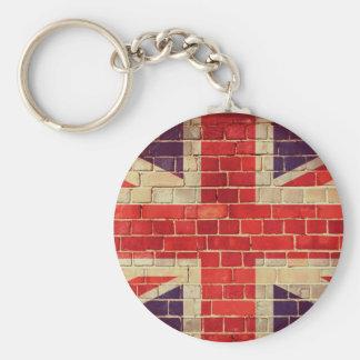 Porte-clés Drapeau BRITANNIQUE vintage sur un mur de briques