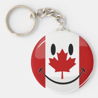 Porte-clés Drapeau canadien de sourire de rond brillant