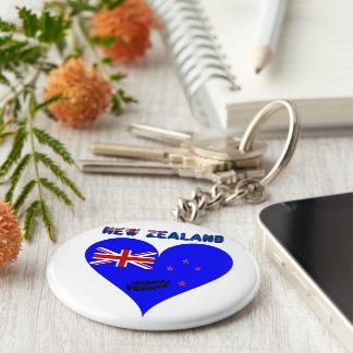 Porte-clés Drapeau de coeur de la Nouvelle Zélande