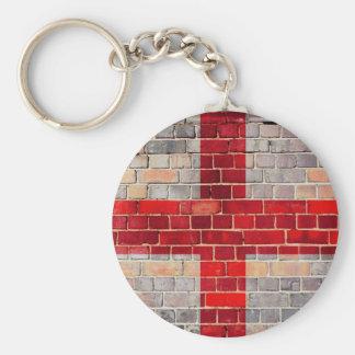 Porte-clés Drapeau de l'Angleterre sur un mur de briques