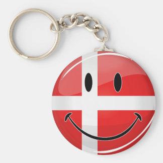 Porte-clés Drapeau de sourire du danois du Danemark