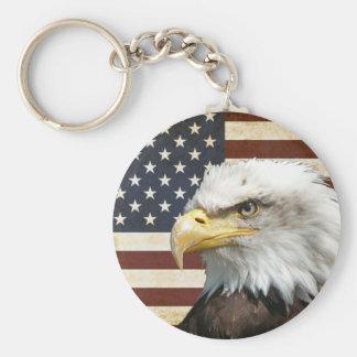 Porte-clés Drapeau des USA Etats-Unis de cru avec l'Américain