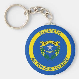 Porte-clés Drapeau personnalisé par état argenté du Nevada