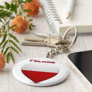Porte-clés Drapeau polonais de coeur