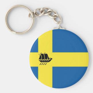 Porte-clés Drapeau suédois avec le Scandinave de bateau de